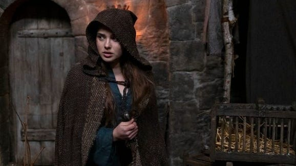 "Katherine Langford as sorceress Nimue in ""Cursed."""