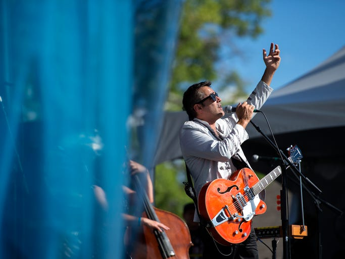 Nick Urata performs with DeVotchKa at Bohemian Nights at NewWestFest Sunday, August 17, 2014.