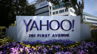 A sign is posted in front of the Yahoo! headquarters in Sunnyvale, California.