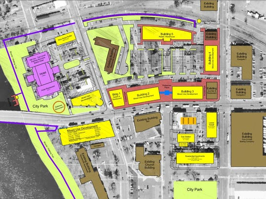 A concept plan created by the East Side Boosters a number of years ago shows possible redevelopment plans for the East Side between the Mississippi Rive and Wilson Avenue.