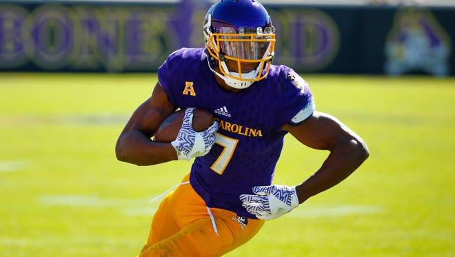 Record-setting East Carolina wide receiver Zay Jones.