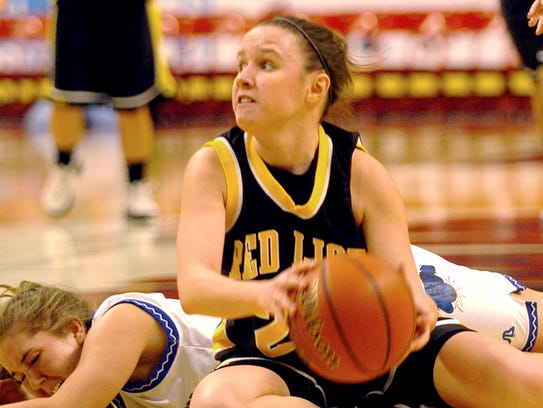 Red Lion's Meggan Quinn looks to pass the ball Tuesday during the Lions' District 3 Class AAAA semifinal matchup against Elizabethtown at Giant Center in 2006.