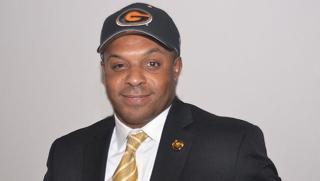 Grambling coach Broderick Fobbs poses for a photo two years ago at his introductory press conference.