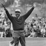 In this Jan. 13, 1969, file photo, Charles Sifford celebrates at the Los Angeles Open.