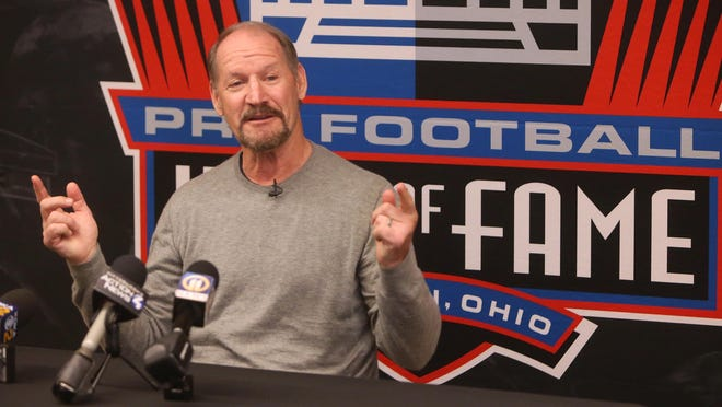 Bill Cowher speaks during his visit to the Pro Football Hall of Fame in Canton on Tuesday, Feb. 25, 2020. He is a member of the Class of 2020.