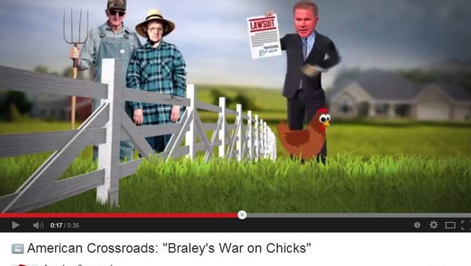 This is a screen shot from American Crossroads' new attack ad against Democratic U.S. Senate candidate Bruce Braley