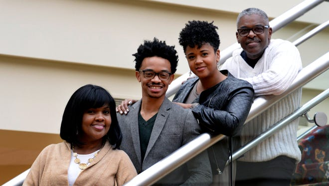 CeCe Winans, left, and her husband, Alvin Love II, right, encouraged Dwan and Laura Hill to start dating. The four pose for a picture after a serviceSunday, Dec. 17, 2017, at Nashville Life Church in Nashville Tenn., where Winans and her husband are pastors