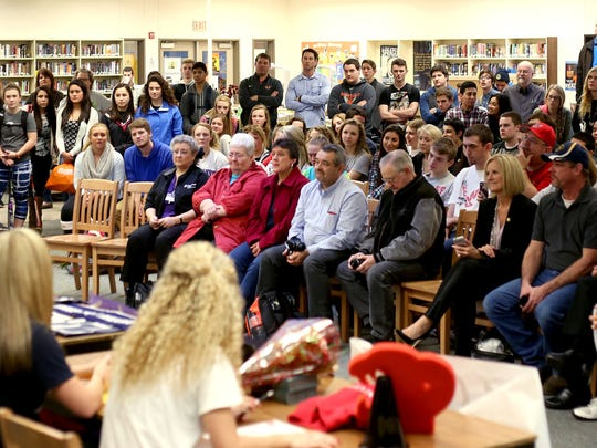 Family, friends and teammates attend the 2015 National Signing Day ceremony at Sprague High School in Salem on Wednesday, Feb. 4, 2015.