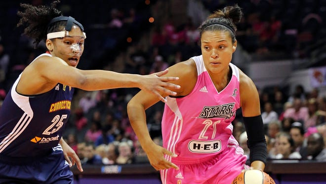 San Antonio Stars' Kayla McBride drives around Connecticut Sun's Alyssa Thomas during the first half of a WNBA basketball game, Friday Aug. 1, 2014 at the AT&T Center in San Antonio.