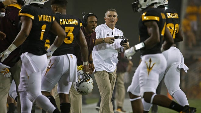 ASU head coach Todd Graham watches as his defense gets a stop against Texas Tech in the first half at Sun Devil Stadium on September 10, 2016 in Tempe.