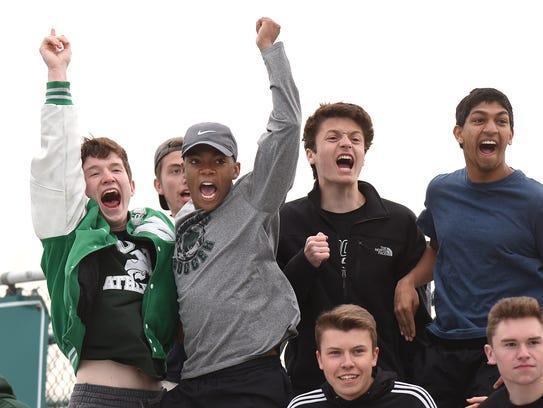 Novi Wildcat fans react to the teams' second goal,