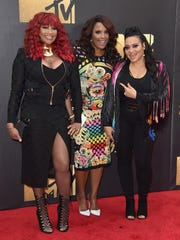 "Members of the musical group Salt-N-Pepa are (from left) Sandra ""Pepa"" Denton, Deidra Muriel Roper (aka DJ Spinderella) and Cheryl ""Salt"" James. They're pictured arriving at the MTV Movie Awards at Warner Bros. Studios in 2016."