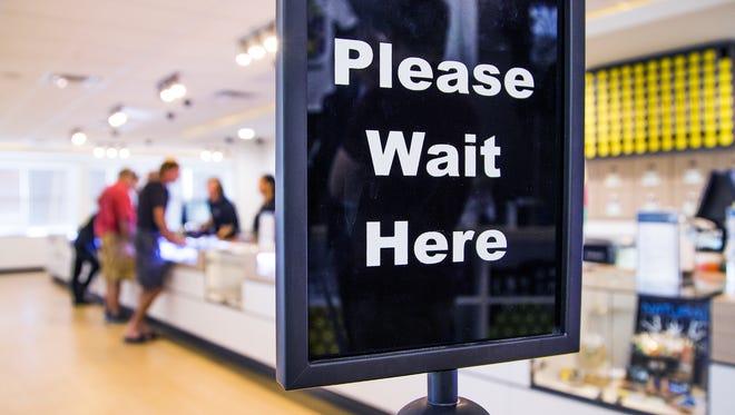 Customers inside a medical-marijuana dispensary.