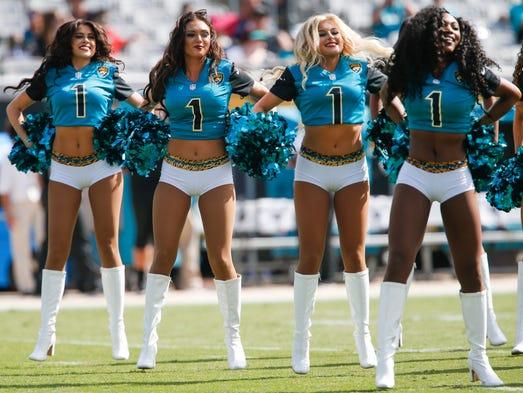 """Jacksonville Jaguars """"Roar"""" cheerleaders perform during"""