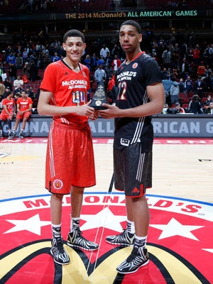 McDonalds All American West forward Justin Jackson (44) and West team center Jahlil Okafor (22) win the John Wooden Award as co MVPs of the game at the United Center.