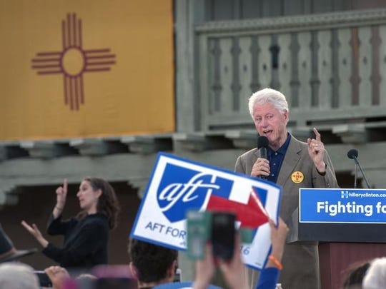 """Former President Bill Clinton speaks during a rally for his wife Democratic presidential candidate Hillary Clinton at the Plaza de Espanola in Española, N.M., Tuesday May 24, 2016. Bill Clinton pleaded with several hundred Democrats in northern New Mexico to send his wife """"to the convention with the wind at her back,"""" repeating the refrain, """"We can do this."""""""