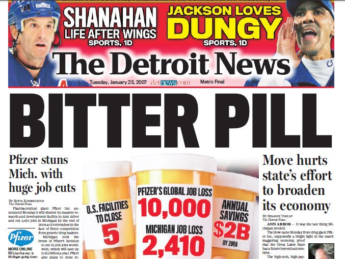 View the front page of The Detroit News each day of the week of January 22, 2007.