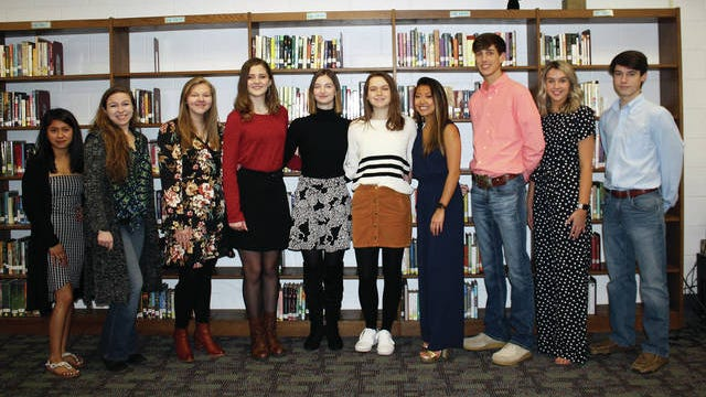 Culleoka Unit School announces its Top 10 for the Class of 2020. The top graduates include, from left: Jissell Fernandez (No. 6), Alyssa Kueffer (No. 5), Anna Bailey (No. 4), Courtney Williams (No. 3), Anna Coker (salutatorian), Kori Kelley (valedictorian), Marah Bates (No. 7), Preston Bagsby (No. 8), Katherine Primm (No. 9) and Ethan Hardison (No. 10). The Daily Herald plans to run pictures of the top 10s of all Maury County high schools before graduation. Mt. Pleasant High School's Top 10 appeared in the Feb. 13 edition of the newspaper.