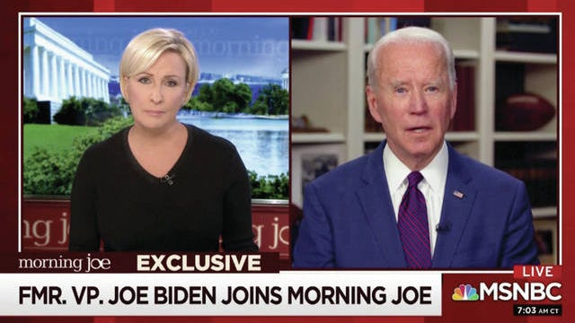"""This video framegrab image from MSNBC's """"Morning Joe"""" shows Democratic presidential candidate former Vice President Joe Biden speaking to co-host Mika Brzezinski on Friday."""