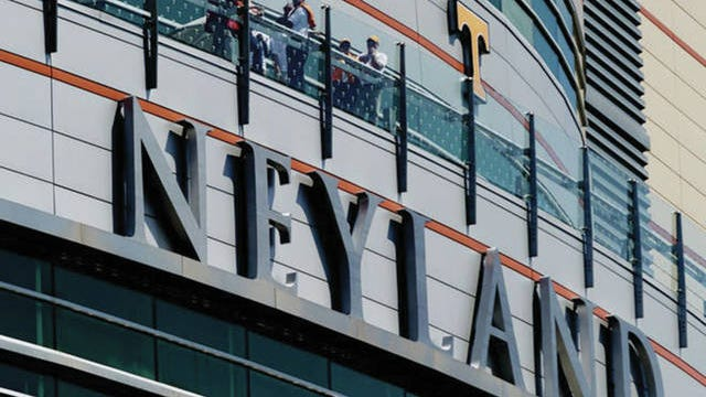 Fans sit on the balcony of Neyland Stadium in Knoxville.