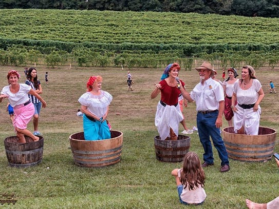 Head to Landry Vineyards for the Blanc Du Bois Stomp