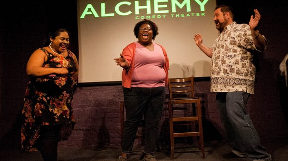 Members of Alchemy Comedy Theater bring in the laughs at an improv show at Coffee Underground.