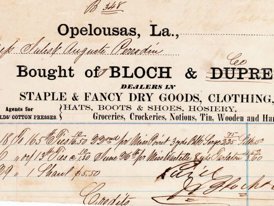 An invoice from the store of Bloch and Dupré from the 1870s.