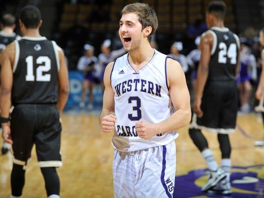 Catamount senior Rhett Harrelson celebrates victory over Wofford.