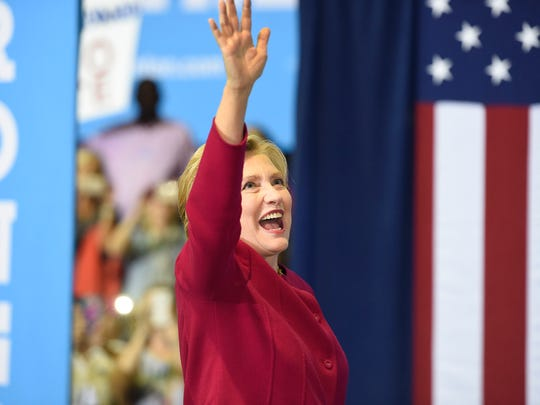 Presidential Democratic candidate Hillary Clinton stopped in Harrisburg Tuesday afternoon, Oct. 4, to campaign. Approximately 2,000 supporters attended the afternoon rally at the Zembo Shrine, located on North Third Street. Clinton waves to supporters as she leaves the stage in Harrisburg.