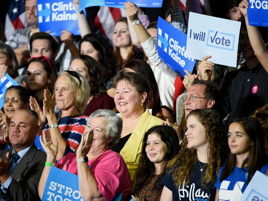 Presidential Democratic candidate Hillary Clinton stopped in Harrisburg Tuesday afternoon, Oct. 4, to campaign. Approximately 2,000 supporters attended the afternoon rally at the Zembo Shrine, located on North Third Street. Lebanon County Commissioner Jo Ellen Litz listens from the stands behind Clinton during her speech in Harrisburg.