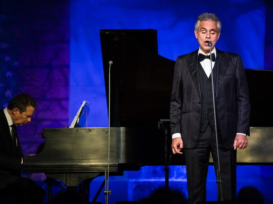 Andrea Bocelli performs at US Bank Arena on Oct. 19.