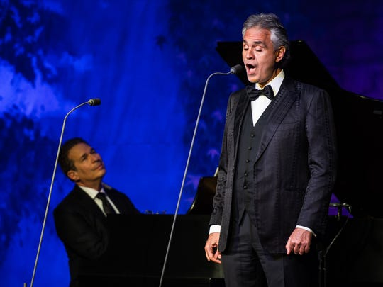 Andrea Bocelli performs during The Bucket List Bash at the Ritz-Carlton in Naples, Fla., on Friday, Feb. 10, 2017.