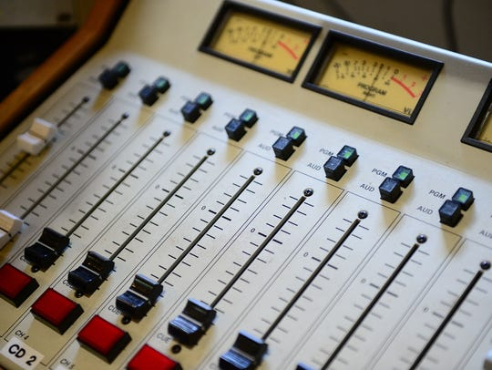 Inside the studio of WRBG 106.5, where the walls are