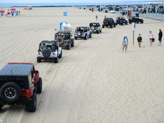 Jeep's flood the beach during the 2017 Jeep Week in