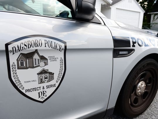 A Dagsboro Police Patrol car sits outside of the station