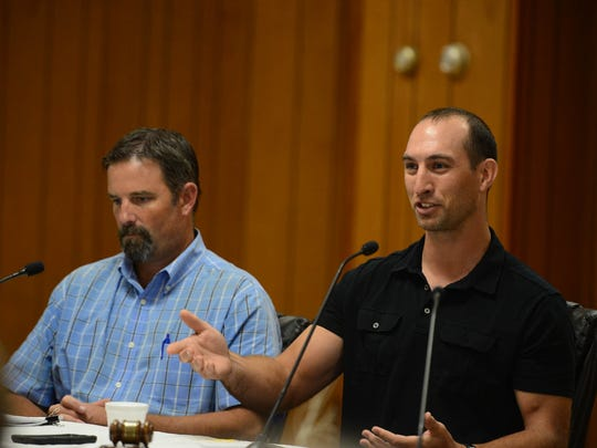 Mike Seitz and Jake Yohe, A-Del Construction, helps address citizens questions at the Rehoboth Beach Volunteer Fire Department addressing the construction implementation for the ocean outfall project. Saturday, Sept. 16, 2017