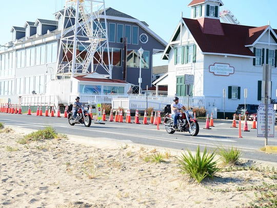 Motorcyclist enter the Inlet in Ocean City during Bike Week on Saturday, Sept. 16, 2017.