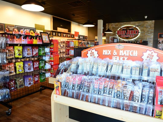 A display at a Beef Jerky Outlet store.