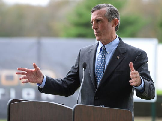 Delaware Governor John Carney, speaks before the groundbreaking of the new 70,000 square-foot facility that will be built in Dagsboro, Del. on Wednesday, Oct. 25, 2017.