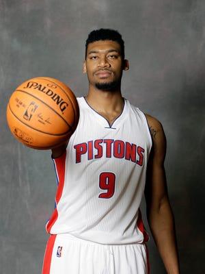 Detroit Pistons forward Tony Mitchell poses during media day in Auburn Hills.