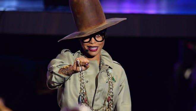 Erykah Badu, hosting the 2015 Soul Train Awards, wearing the Pharrell hat better than Pharrell could ever even dream to.