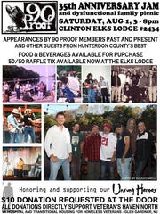 Hunterdon County-based 90 Proof Band will celebrate its 35th anniversary on Aug. 1 at Clinton Elks with a benefit for Veterans Haven North, a hospital for homeless vets in Glen Gardner.
