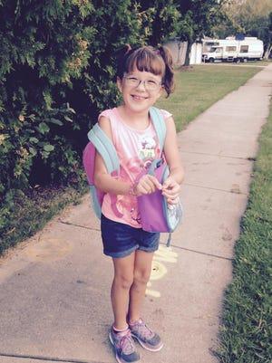 Layla  Kaufman, 7, started first grade at Victor Haen Elementary School in Kaukauna.