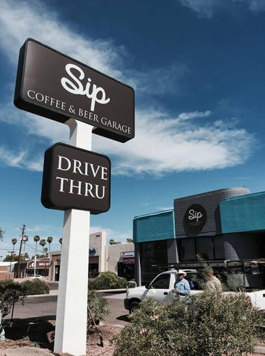 The new Sip Coffee & Beer garage borrows from its sister