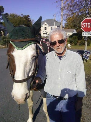 Accomack County Supervisor Ron Wolff holds the reins of a constituent's horse so she can go into the Greenbackville, Va., firehouse and cast her vote.