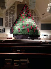 The Singing Christmas Tree has 12 levels and holds about 60 choir members.