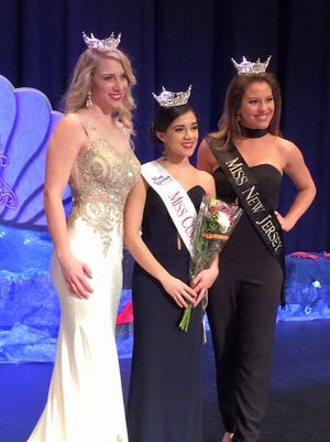 Miss Cumberland County 2016 Olivia Cruz (center) with Miss Cumberland County 2015 Samantha Mason (left) and Miss New Jersey 2015 Lindsey Giannini at this year's Miss Cumberland County competition.