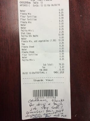 A good Samaritan paid almost $100 for eight deputies' lunch on Wednesday.