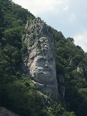 An image of Decebalus, who died in 106 and was the last king of Dacia, is carved into the rock cliff of the Iron Gates. It is on the border of Romania and Serbia.