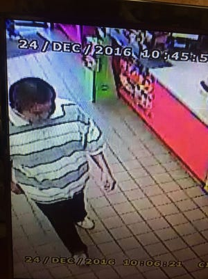 Deputies are seeking information on a male suspect who has allegedly stolen alcohol multiple times from a Giant gas station in Kirtland.